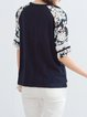 Navy Blue Crew Neck Sweet Cotton Short Sleeved Top