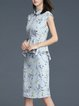 Blue Sheath Floral Elegant Midi Dress