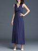 Navy Blue Sleeveless V Neck Ruched Plain Party Dress