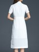White Slit High Low Short Sleeve Shirt Collar Midi Dress