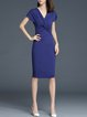 Navy Blue Ruched Short Sleeve Solid V Neck Midi Dress
