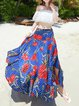Blue Asymmetric Resort Floral Swing Maxi Skirt