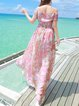 Pink Swing Off Shoulder Short Sleeve Maxi Dress