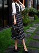 Black Sleeveless A-line Folds Checkered/Plaid Midi Dress