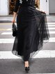 Black Organza Stripes Sweet Maxi Skirt