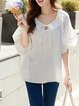 White Ruffled Casual Blouse