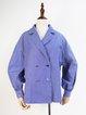 Blue Casual Lapel Buttoned Stripe Cotton Blouse