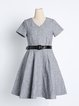 Gray Short Sleeve V Neck Folds Mini Dress with Belt