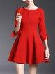 Red Simple Folds Mini Dress