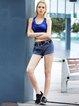 Blue Push up Stretchy Nylon Wearable Sports Bra (Sportswear for Running)