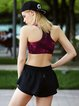 Wine Red Push up Stretchy Nylon Wearable Sports Bra (Sportswear for Running)