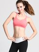 Pink Stretchy Polyester Breathable Cross Sports Bra (Sportswear for Yoga)