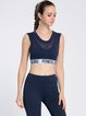 Dark Blue Breathable Polyester Stretchy Sports Bra (Sportswear for Fitness)