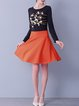 Orange Skater Symmetric Plain Casual Mini Skirt