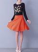 Orange Skater Symmetric Plain Casual Mini Skirt
