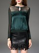 Green Silk-blend Paneled Long Sleeve Blouse