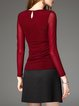 Burgundy Paneled Crew Neck H-line Simple Blouse