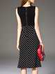 Black Sleeveless Silk-blend A-line Stripes Midi Dress