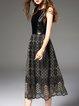 Black Elegant Printed Crew Neck Midi Dress