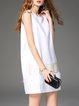 White Paneled Wool Simple H-line Mini Dress