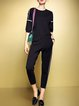 Black Plain Color-block Two Piece Casual Jumpsuit