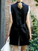 Black Sleeveless Cotton Pockets H-line Vest