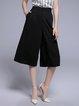 Black Simple Plain Pockets Wide Leg Pant