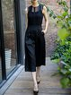Black Sleeveless Crocheted Jumpsuit