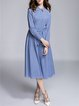 Blue Cotton Shirt Collar Casual A-line Midi Dress
