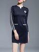 Black H-line 3/4 Sleeve Cotton Stripes Mini Dress