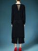 Black Long Sleeve Silk-blend Asymmetric Plain Tunic