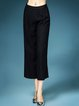 Linen Folds Plain Casual Wide Leg Pant