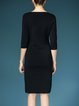 Black Sheath Rayon Statement Slit Crew Neck Midi Dress