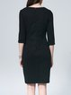 Black Cotton-blend Crew Neck Plain Midi Dress