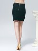 Green Simple Wool Blend Mini Skirt