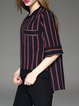 Black High Low Crew Neck Stripes Casual Blouse