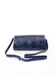 Dark Blue Magnetic Retro Floral Embossed Cowhide Leather Clutch