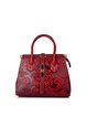 Wine Red Evening Small Embossed Cowhide Leather Top Handle