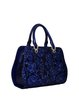 Royal Blue Embossed Cowhide Leather Medium Top Handle
