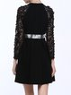 Black Foral Appliqued Lace Beaded Statement Midi Dress