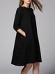 Black Cotton-blend Crew Neck 3/4 Sleeve Midi Dress