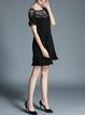 Black A-line Short Sleeve Ruffled Crew Neck Mini Dress