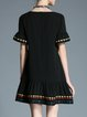 Embroidered Crew Neck Frill Sleeve Girly Mini Dress