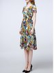 Multicolor Ruched Abstract Swing Casual V Neck Midi Dress