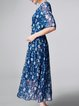 Blue Square Neck Floral Half Sleeve Pleated Midi Dress