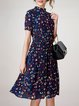 Dark Blue Stand Collar Short Sleeve Swing Midi Dress