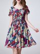 V Neck Floral Frill Sleeve Girly Shirred Midi Dress