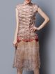 Vintage Silk Sleeveless Printed H-line Midi Dress