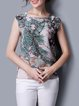 Multicolor Printed Floral Casual Silk Short Sleeved Top