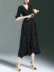 Black Simple Polka Dots Polyester Midi Dress